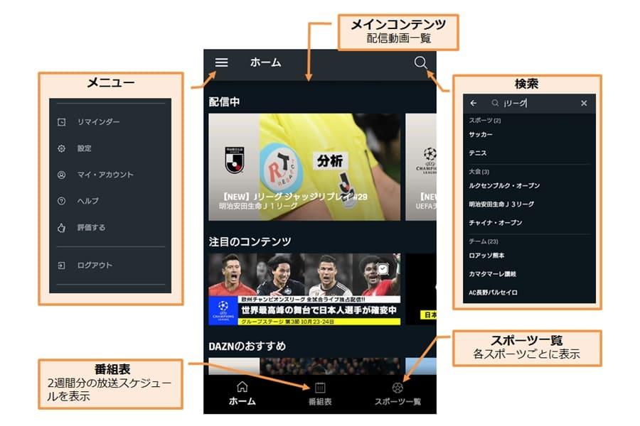 ダゾーンアプリのホーム画面の説明