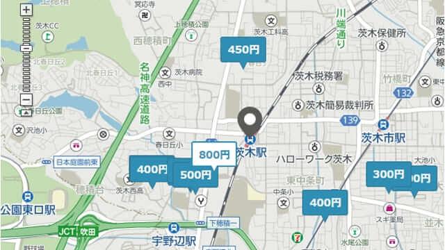 茨木駅周辺 駐車場 予約