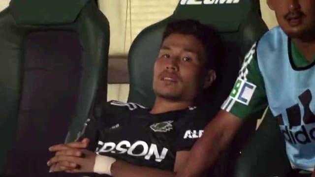 名古屋戦終了直後の永井龍